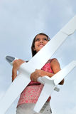 Girl with model plane Stock Photo