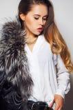 Girl model posing in Studio on gray background Stock Image