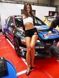 Girl Model on Racing Car Stock Photo