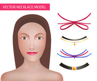 Girl Model Template For Necklaces and Accessories . Choker Constructor. Fashion Vector Illustration. Eps 10 Royalty Free Stock Photos