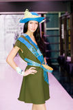 Girl in modern blue felt hat & accessories royalty free stock photos