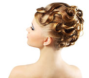 Girl with modern hairstyle isolated on white Royalty Free Stock Photo