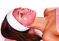 Girl with moistening fruit facial mask Royalty Free Stock Images