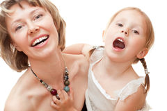 Girl with mom Royalty Free Stock Images