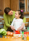 Girl and mom with casserole Stock Photography