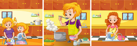 Girl and mom doing activities in the kitchen. Illustration Royalty Free Stock Photo