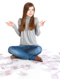 Girl with money Royalty Free Stock Photo