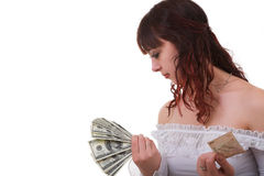 Girl with money Stock Photos