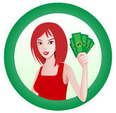 Girl with money. Attractive woman holding money into the round sign Royalty Free Stock Photos