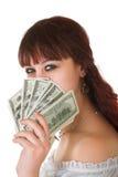 Girl with money Stock Photo