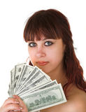 Girl with money Stock Image