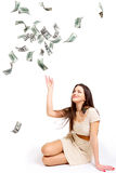 Girl and money Royalty Free Stock Photography