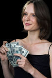 The girl and money Royalty Free Stock Image