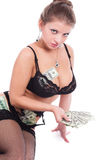 The girl and money. Royalty Free Stock Photos