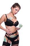 The girl and money Royalty Free Stock Images