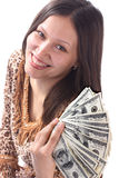 Girl and money. Smiling girl and dollars. Isolated Royalty Free Stock Photography