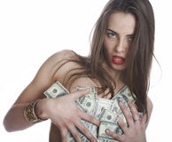 The girl and the money Royalty Free Stock Photos