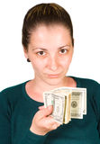 Girl and money Royalty Free Stock Photo