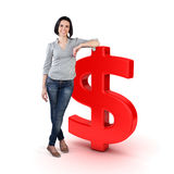 Girl with a money Royalty Free Stock Photography