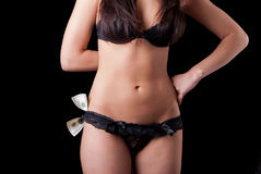 Girl with money in the black lingerie Stock Photography
