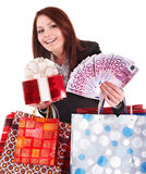 Girl with money euro, gift box and bag. Business woman with money euro , red gift box and bag. Isolated Royalty Free Stock Images