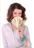Girl with money. Girl with a fan of money stock photos