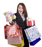 Girl with money, gift, box. Business  woman with money, gift, box and bag. Isolated Stock Photography