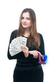 Girl with money and giftbox in her hands. Portrait of girl with money and giftbox in her hands isolated on white Royalty Free Stock Photography