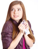 Girl with money in hands. Isolated on white background Royalty Free Stock Image