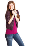 Girl with money in hands. Isolated on white background Stock Photography