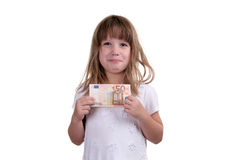 The girl with money in hands. On a white background Royalty Free Stock Images