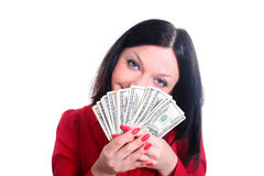Girl and money  isolated Stock Photography