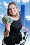 Girl and money. Smile and money in the hands of a young woman stock photos