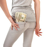 Girl with the money on a white background Royalty Free Stock Photography