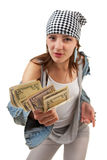 Girl with the money on a white background Royalty Free Stock Photo