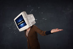 Girl with a monitor head Royalty Free Stock Photos