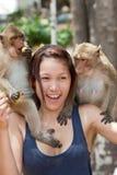 Girl with monkey Stock Photo