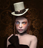 Girl with monocle. Steam punk girl with monocle Royalty Free Stock Photography