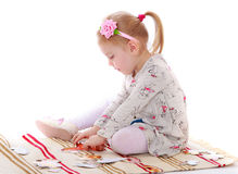 The girl in Montessori kindergarten Stock Images