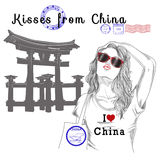 Girl with monument background and post stamps - china Stock Photos