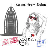 Girl with monument background and post stamps - dubai Stock Photography