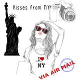Girl with monument background and post stamps - New York. Fashion Illustration - Postcard - Girl with monument background and post stamps - New York Royalty Free Stock Image