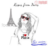 Girl with monument background and post stamps - Paris Royalty Free Stock Photography