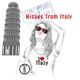 Girl with monument background and post stamps - Pisa - Italy Royalty Free Stock Images