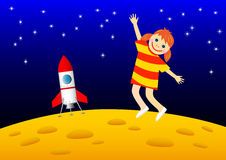 Girl on the Moon. Girl on the orange Moon Stock Photography