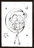 Girl in the moon. Illustration , also corel draw version Royalty Free Stock Image