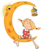 The girl and the moon cartoon Stock Photo