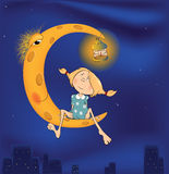 The girl and the moon cartoon. The girl sitting on the moon against a night city Stock Images