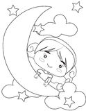 Girl on the moon coloring page. Useful as coloring book for kids Royalty Free Stock Photo
