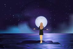 Girl and the moon Royalty Free Stock Photography
